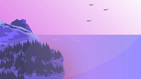 Sunrise in the mountains, in purple tones. Vector