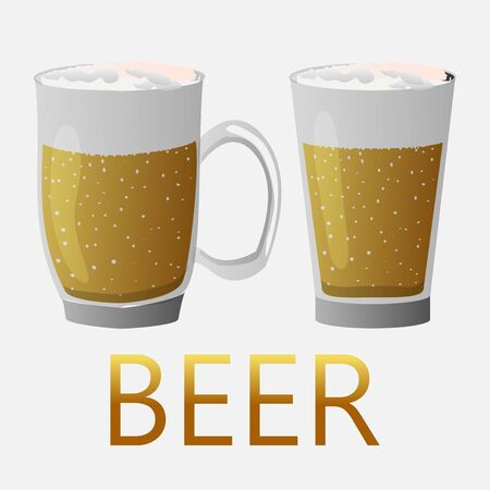 Two mugs of beer with the words beer. Realistic display of an alcoholic drink. Stock Illustratie