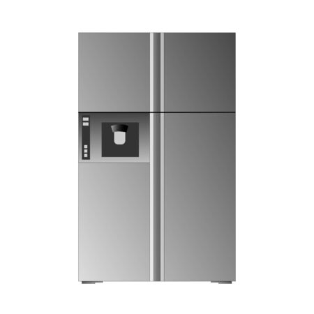 Vector illustration of a modern gray refrigerator. Can be used as icon.