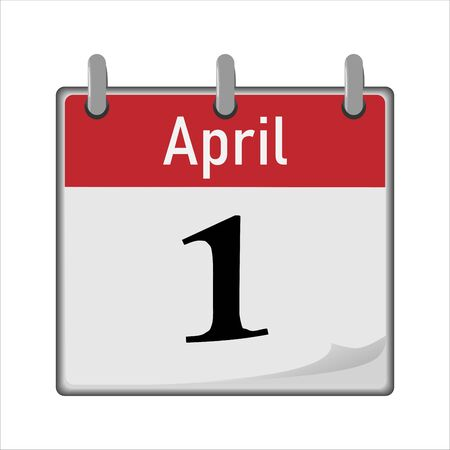 Calendar icon is the first number of the month. Red and white. Flipping the sheet to the next day. Vector illustration EPS.