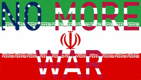 The inscription no more war on the background of the Iranian flag in the style of the American flag. No more world war 3.