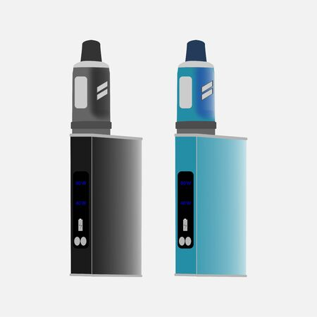 Setap for soaring, vape, boxing mod and mechanical mod. An image of a vaip in the style of flat or realism. Black and blue. Modern technology. Vector eps illustration.