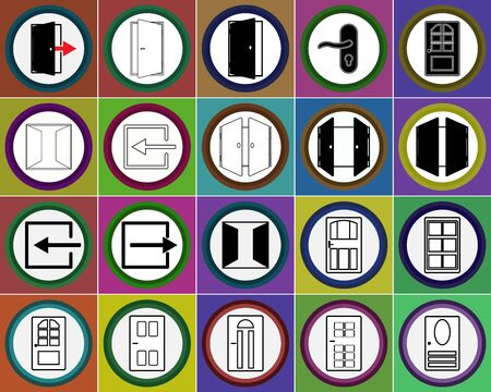 The door icons set in the circle. Black and white flat interior icons. Open and closed doors, entrance into house. Vector eps illustration.