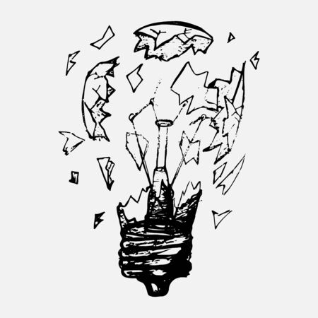 The light bulb explodes to pieces and the glass is shattered. Hand-drawn figure, isolated icon on a white background. Vector Illustratie
