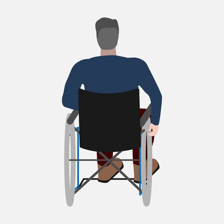 A disabled person sits with his back. Wheelchair on a white background. A person with a disability. Ilvalid inclusion man. Vector eps illustration.