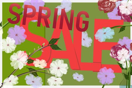Spring sale, bright beautiful flowers. Colorful banners with a sale. Pions, roses, daisies. Red, pink, spring green. Summer mood. Vector eps illustration. Archivio Fotografico - 138199148