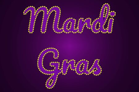 Mardy gras inscription in traditional colors.
