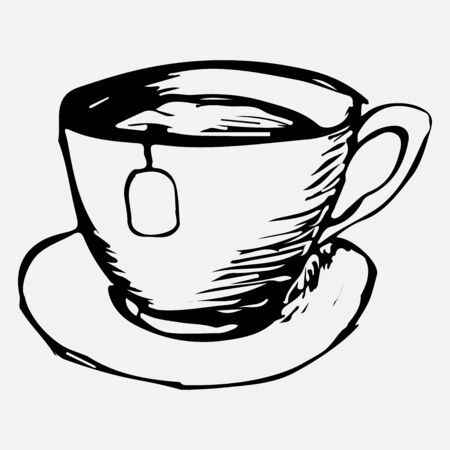 A mug of tea drawn by hand with a pencil. A mug of tea painted with a black pen on a white background. Vector eps illustration. Vector Illustration