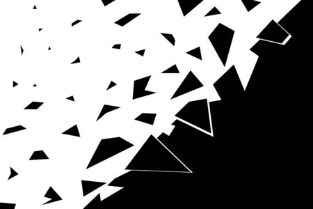 The abstract background is collapsing. Fragments in the form of geometric shapes, triangles fly in different directions. Broken, cracked surface texture. Monochrome vector eps illustration.