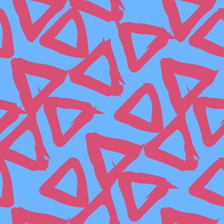 A seamless pattern of triangles, blue and pink colours. Accidental arrangement of geometric shapes. Abstract vector eps illustration.