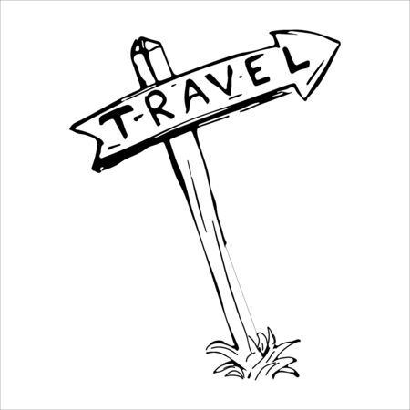 Road sign with a sign having an arrow and direction with the words travel. A sketch drawn by hand with a pencil on the theme of travel. Vector eps illustration. Stock Illustratie
