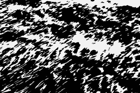 Abstract black white image with long and short intermittent lines made by brush. A monochrome image drawn by hand.