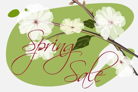 Red inscription Spring sale in white and light green tones. Almond tree flowers with buds.