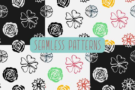 A seamless pattern of different flowers, drawn by hand. Peonies, roses drawn with a stick in the style of sketch. Vector eps illustration.
