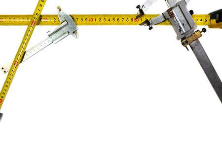 Isolated on a white background calipers. The old barbell from the USSR. Measuring distance on a white background.