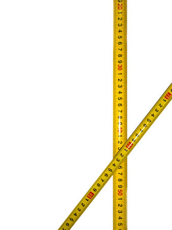 Isolated tape on a white background. Measurements in centimeters in construction or measurement of waist width. Yellow isolated ribbon with divisions on a white background.