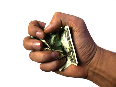 The hand holds and squeezes the dollars. Money in a fist. It's holding out dollars. First-person payment.