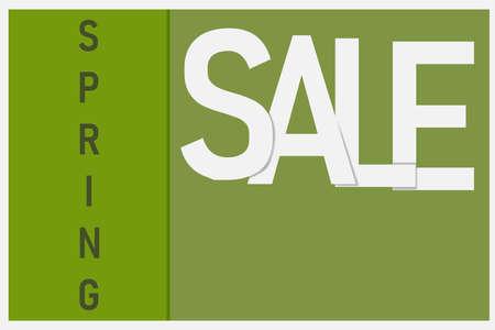 Inscription Spring sale in white and light green tones. Vector eps illustration.