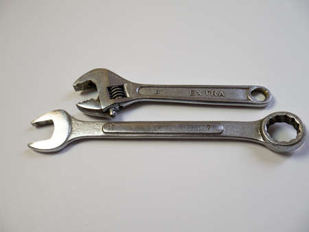 The wrench to repair. Tools for construction on white background. Unscrew the bolt. Device for unscrewing or tightening nuts, uncorking. Stok Fotoğraf