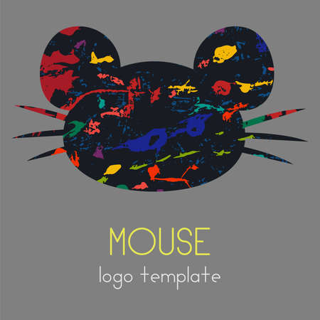 The mouse logotype. A logo with a portrait of a mouse with a large mustache and ears. Great for your company, you can use on a banner or sign. Vector eps illustration.