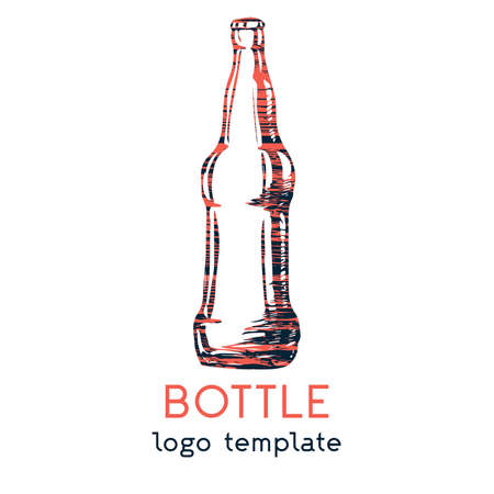 A logo with a simple hand-drawn bottle. Can be used in bars and restaurants. The soda drink logo, an invitation to drink. Vector eps illustration. Ilustracja