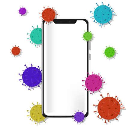 A phone infected with coronavirus. Bacteria fly around the phone. Isolated object on a white background. Wash your hands before using phone. Vector eps illustration.