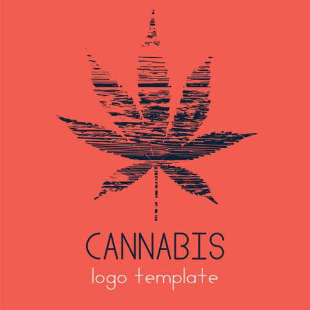 Marijuana logo. Cannabis in a simple modern style. The use of marijuana for medicinal purposes. Legalize marijuana. Vector eps illustration.