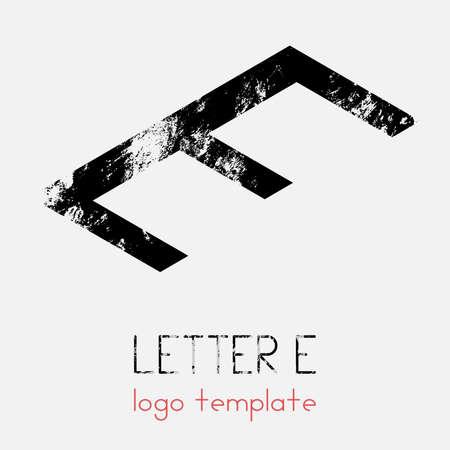 The logo template using the letter E. Simple modern logo in isometry. Vector eps illustration. Ilustração