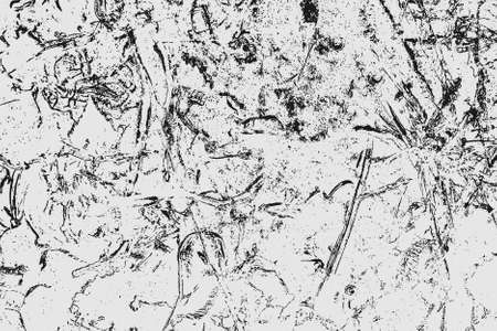 Abstract black white image with long and short intermittent liquid lines made by brush. A monochrome image drawn by hand. Dirty shabby smears of black paint. Vector eps illustration. Ilustração