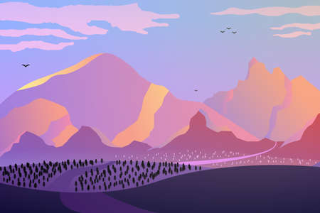 Dawn in the mountains, pink tones, the road going to the distance. A beautiful landscape of mountains and fields in warm tones. Vector eps illustration.