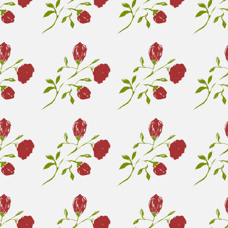 A multi-colored seamless pattern made by a brush. A hand-drawn pattern of leaves and flowers. Simple nature style. Vector eps illustration.