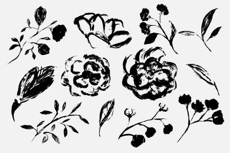 Black white is a seamless pattern. Monochrome pattern consists of flowers and leaves drawn by hand brush. A beautiful repetitive pattern of plants and flowers. Vector eps illustration.