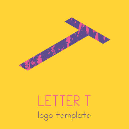 The template using the letter T. Simple modern in isometry. Vector eps illustration.