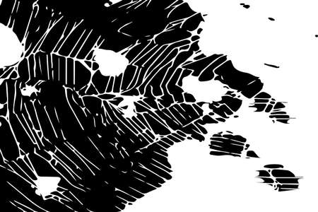 Abstract black white image with long and short intermittent liquid lines made by brush. A monochrome image drawn by hand. Dirty shabby smears of black paint. Vector eps illustration. Çizim