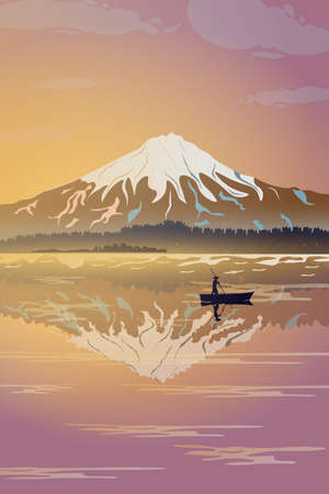 Mount Fujiyama, in the foreground is the silhouette of a fisherman. A magnificent view of the mountain in pink tones. Vector illustration. 일러스트