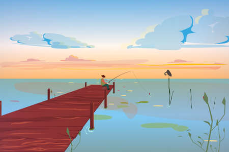A beautiful pier with a fisherman on it. The bird on the lake rests, against the cloud sky. The lake with piers in light colors. Vector eps illustration.
