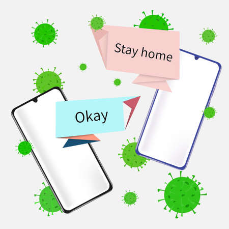 Two phones on which messaging is carried out, Wishes to stay at home during the virus period. Messaging between phones. Vector illustration.