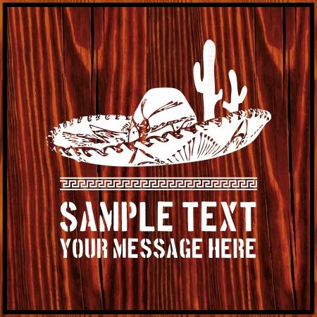 mexican sombrero: Sombrero messicano con cactus e il testo su sfondo di legno