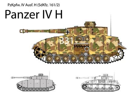 world war two: German WW2 Panzer IV H with long 75 mm L48 gun  Illustration