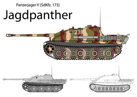 Duitse WW2 Jagdpanther tank destroyer met lange 88 pistool Stock Illustratie