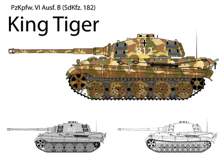 World war 2: German WW2 Tiger B (King Tiger) tank with long 88 mm gun Illustration