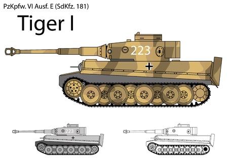 German Tiger I tank from the Second World War  Illustration