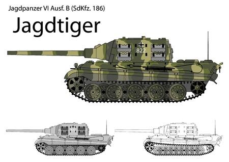 in german: German WW2 Jagdtiger tank destroyer with long 128 mm gun Illustration