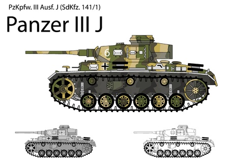 ww2: German WW2 Panzer III J tank with long 50 mm L60 gun