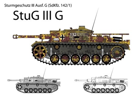 German WW2 StuG III G tank destroyer with long 75 mm L48 gun Vector