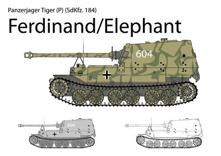 German WW2 Ferdinand Elephant tank destroyer  Illustration