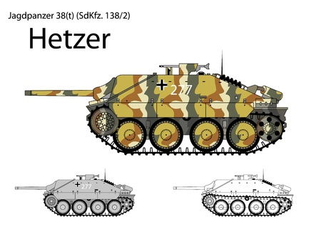German WW2 Hetzer light tank destroyer  Illustration