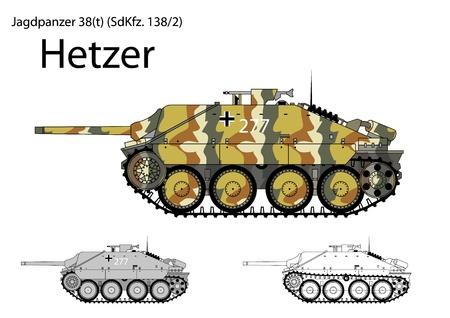 destroyer: German WW2 Hetzer light tank destroyer  Illustration