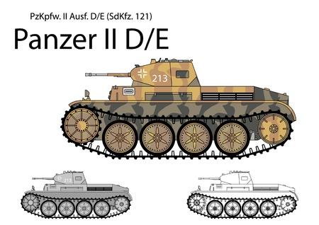 German WW2 Panzer II D E light cavalry tank Illustration