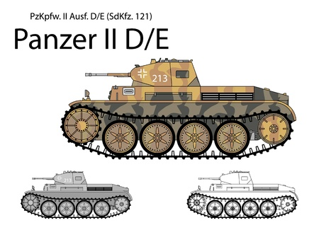 cavalry: German WW2 Panzer II D E light cavalry tank Illustration